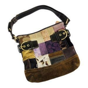 Coach Patchwork Holiday Duffle Purse Brown Suede